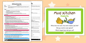 Prickle Pie EYFS Mud Kitchen Plan and Prompt Card Pack - mud kitchen