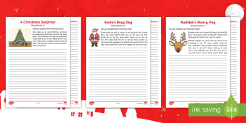Christmas Story Starters CfE Early Level Writing Activity Sheet - Christmas, Creating Texts, Writing, Imaginative, Literacy,Scottish
