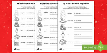 Elf Number Sequences Differentiated Activity Sheets - LKS2, maths, Christmas, number, number sequences, LKS2, lower key stage 2.