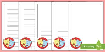 Drama Themed Page Border  -  frame, writing frame, writing template, drama,