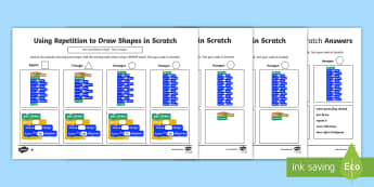 Using Repetition to Draw Shapes in Scratch Differentiated Activity Sheet - worksheet, computing, programming, program, coding, algorithm, instructions, repetition, scratch, sh