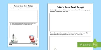 Design a Future Sailing Race Boat Activity Sheet - Team New Zealand, Americas Cup, sailing, racing, boat