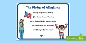 Pledge of Allegiance Large Display Poster - Flag Day, USA, America, vow, swear, nation, republic, liberty