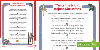 KS1 Twas the Night Before Christmas Differentiated Poem - Christmas, Santa, Story, Rhyme, Poetry