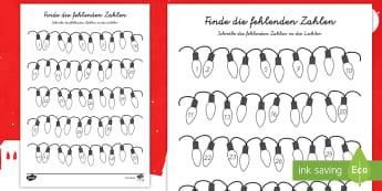 Weihnachtliche Zahlensuche Arbeitsblatt German/Deutsch - Weihnachten, Advent, December, zählen, Zahlen, ,German