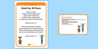 Foundation PE (Reception) Stand Up, Sit Down Warm-Up Activity Card - physical activity, foundation stage, physical development, games, dance, gymnastics