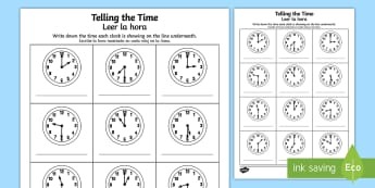 O'clock and Half Past Times Activity Sheet English/Spanish - worksheet, O'clock and Half Past Times Activity Sheet - o'clock, half past, times, activity,Timw,