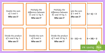 Numerical Expressions 'Who Am I?' Matching Cards - numerical expressions, equations, Algebra, Unknowns, variables, problem solving,