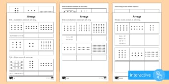 Year 2 Maths Arrays Homework Go Respond Activity Sheet - year 2, maths, homework, multiplication, division, arrays, inverse, related facts, Worksheet