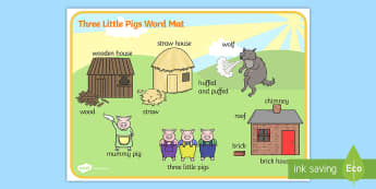The 3 Little Pigs Scene Word Mat - the three little pigs,  vocabulary mat, word mat, key words, topic words, word poster, vocabulary, themed word mat
