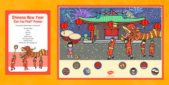 Chinese New Year Can You Find? Poster and Prompt Card Pack - Chinese New Year, EYFS, tradition, celebration, dragon, red envelope, Chinese lantern