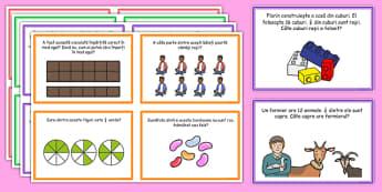 Fracții - Cartonașe cu probleme - cartonașe, fracții, probleme, ilustrate, matematică, romanian, materiale, materiale didactice, română, romana, material, material didactic