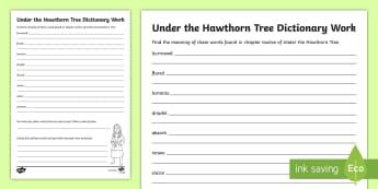 Chapter 12 Dictionary Work Activity Sheet to Support Teaching on Under the Hawthorn Tree-Irish - stories, novel, comprehension, reading, English, vocabulary, Irish famine, famine, worksheet