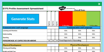 EYFS Profile Assessment Spreadsheet - EYFS, Early Years, assessment, ELG, EYFSP, Early Years Profile, Reception, Good Level of Development, Emerging, Expected, Exceeding