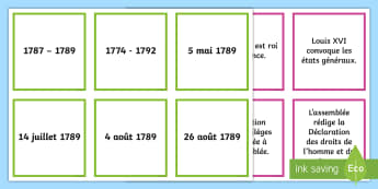 French Revolution Key Dates Matching Cards - Bastille Day, 14th July, National day, France, 1789, Louis XVI, 14 juillet, prise de la Bastille, celebrations, fête, nationale, culture, customs