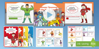 KS1 Maths Blooms Taxonomy Meet the Blooms Superheroes Resource Pack - Reasoning, evaluate, Synthesis, Challenge, Problem Solving