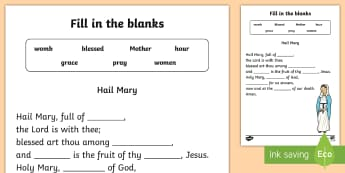 Hail Mary Fill in the blanks Activity Sheet - Confession & First Communion Resources,Irish,worksheet