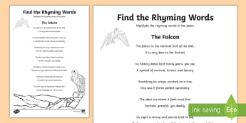 Falcon Poem Find the Rhyming Words Activity Sheet - Science: Living World, falcon, poem, English, Literacy, display, rhyme, UAE, middle east, rhyming wo