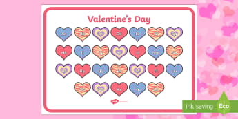 Valentine's Day Themed Alphabet Mat - ESL Alphabet Resources
