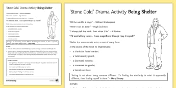 Being Shelter Drama Activity Sheet to Support Teaching on 'Stone Cold' by Robert Swindells - stone cold, shelter, swindells, drama, character