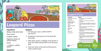 Ronald the Rhino Leopard Pizza Recipe - twinkl originals, fiction, KS1, EYFS, Design and Technology, Home Learning, Parents, Story sack
