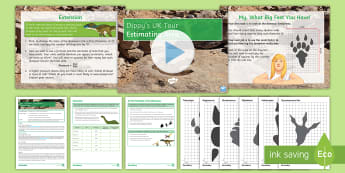 Dippy Tours the UK: Estimating Area Activity Pack - Area, Pressure, Dinosaur, Dippy, Counting, Scale factor, Using formulae, Estimate