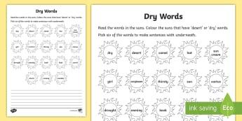Dry Words Reading Worksheet / Activity Sheet - dry, word identification, reading, worksheet, worksheet / activity sheet, language,Irish