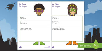 My Talents Superhero Themed Activity Sheet English/Te Reo Māori - My Talents, Superhero Themed, Activity Sheet, Te Reo Māori, He Tipua, worksheet