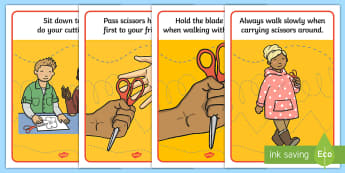 Scissor Safety Display Posters - Scissor safety, Scissor skills, safe, use, cutting, using scissors, cutting skills, fine motor skills