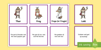 Viking God Matching Cards - vikings, viking gods, viking god matching game, viking god cards, vikings gods and goddesses, what viking gods were known for