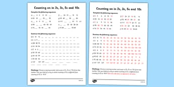 Skip Counting in 2s, 3s, 5s and 10s Worksheet - counting, worksheet
