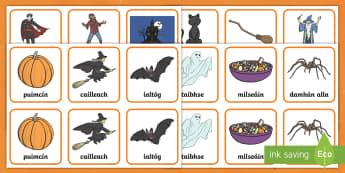 Halloween Matching Cards Gaeilge - oíche shamhna, gaeilge, pairs game, matching, irish games, cluíchí teanga,Irish