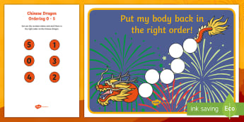 Chinese Dragon Ordering 0 to 5 Activity Sheet - Chinese New Year KS1. KS2, EYFS, Celebration, festivals, rooster, New Year, year of the rooster, cou