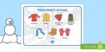 Îmbrăcămintea de iarnă Planșă cu vocabular - iarna, haine, îmbrăcăminte, comunicare, cum ne îmbrăcăm, vocabular pe tema iernii, imagini de