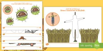Autumn Themed Mark Making and Pencil Control Activity Sheets - Arabic/English  - fine motor skills, seasons, harvest, writing skills, pencil skills, EAL, Arabic.,Arabic-translation