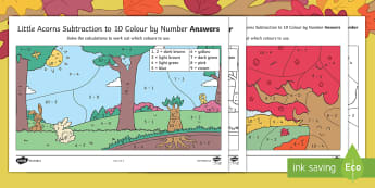 Little Acorns Subtraction Colour by Number - Little Acorns, Twinkl fiction, EYFS, KS1, Maths, subtraction, maths, calculations, acorn, oak tree,