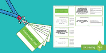 Lanyard Sized Year One Number and Place Value Objectives Cards - year 1, year one, maths, numeracy, number and place value, tens and ones, number words, numerals, wr