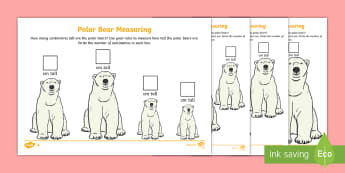 Polar Bear Measuring in Centimetres Differentiated Activity Sheet - The Arctic, Polar Regions, north pole, south pole, explorers, measure, measuring, measurement, rules
