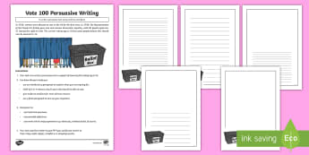 KS2 Vote 100 Writing Activity Sheet - Suffragettes, Election, Democracy, Parliament, Representation