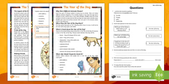 * NEW * LKS2 The Year of the Dog Differentiated Reading Comprehension Activity English/Spanish - Chinese new year, Dragons in the City, retrival, vocabulary, inference, content domains, understanding