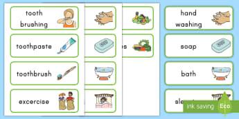 Healthy Living Word Cards - healthy living, healthy habits, word cards, healthy living word cards, pre-k health, kindergarten he