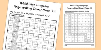 British Sign Language Fingerspelling Colour Maze G - colour, maze
