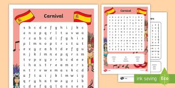 Carnival in Spain Differentiated Word Search - Carnaval España, cuaresma, decoración de la clase, decoración de carnaval, disfraz, disfrazar, ca