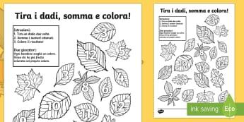 Tira i Dadi e Colora le Foglie - foglie, colora, colorare, autunno, somma, somme, matimatica, addizioni, italiano, italian, gioco, gi