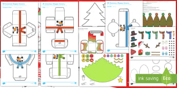 Christmas Paper Craft Pack US English/Spanish (Latin) - christmas, craft, pack, decoration, make
