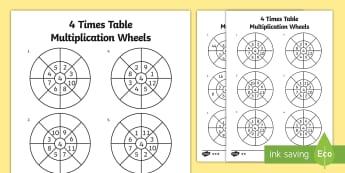 4 Times Table Multiplication Wheels Activity Sheet Pack - times table, multiplication wheel, multiply, activity sheet, worksheet, 4