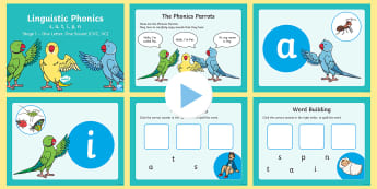 Northern Ireland Linguistic Phonics Stage 1 s, a, t, i, p, n PowerPoint - Sounds, CVC, VC, segmenting, blending, phonemes, graphemes