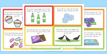Subtraction Word Problem Challenge Cards - australia, subtraction