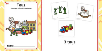 Toys Counting to 10 Cut and Paste Booklet - toys, counting, 10