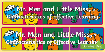 Mr. Men and Little Miss CoEL Display Banner - Assessment, Early Years, Title, Characteristics of Effective Learning, CofEL, Mr Men, Display, Banne